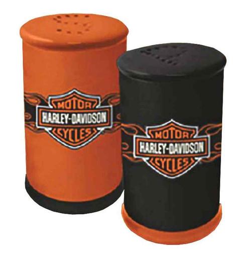 Harley-Davidson Flaming Bar & Shield Salt & Pepper Shakers Set, HD-FLM-634 - Wisconsin Harley-Davidson