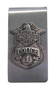 Harley-Davidson Police Original Antique Nickel Money Clip MC126306 - Wisconsin Harley-Davidson