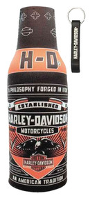 Harley-Davidson Conquest Black Bottle Wrap Zippered w/ Bottle Opener BZ121730 - Wisconsin Harley-Davidson