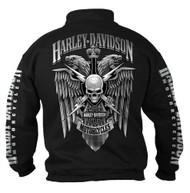 Harley-Davidson Men's Lightning Crest 1/4 Zip Cadet Pullover Sweatshirt, Black - Wisconsin Harley-Davidson