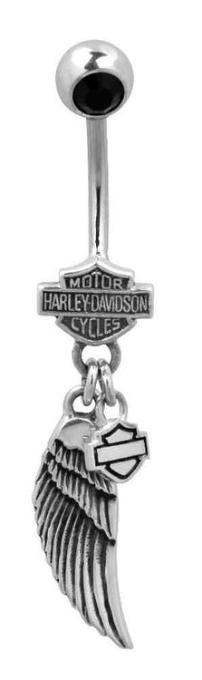Harley-Davidson Women's Belly Jewel, Black Onyx Wing Bar & Shield Logo HDZ0058 - Wisconsin Harley-Davidson
