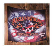 Harley-Davidson Flaming Skull Americana Estate Flag, 36 x 52 inches 17S4906 - Wisconsin Harley-Davidson