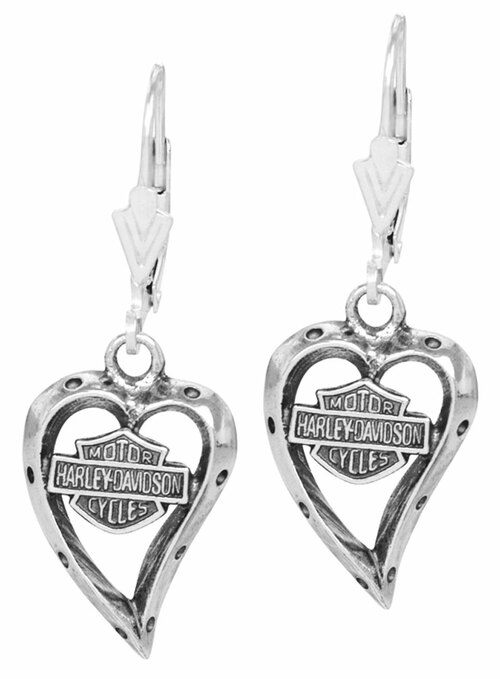 Harley-Davidson Women's Bar & Shield Dangle Heart Earrings HDE0133 - Wisconsin Harley-Davidson