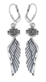 Harley-Davidson Women's Bar & Shield Winged Dangle Earrings HDE0126 - Wisconsin Harley-Davidson