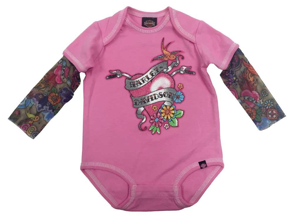 fbaf6c75c1c Harley-Davidson® Baby Girls  Glittery Creeper w  Mesh Tattoo Sleeves  3000611 - Wisconsin Harley-Davidson