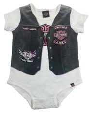 Harley-Davidson Baby Girls' Printed-On Motorcycle Vest Infant Creeper, 3010627 - Wisconsin Harley-Davidson