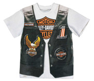 Harley-Davidson Little Boys' Printed-On Motorcycle Vest Short Sleeve Tee 1082625 - Wisconsin Harley-Davidson