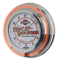Harley-Davidson Motorcycle Double Neon Bar & Shield Clock, Orange Neon HDL-16623 - Wisconsin Harley-Davidson