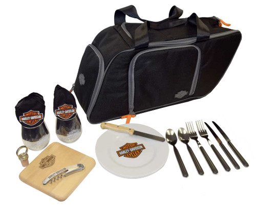 Harley-Davidson Saddlebag Picnic Set, Bar & Shield Logo, Black 435-42 - Wisconsin Harley-Davidson