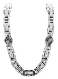 Harley-Davidson Men's Stainless Steel Double Link Necklace, Silver HSN0026-22 - Wisconsin Harley-Davidson