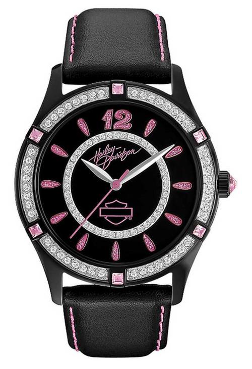 Harley-Davidson  Women's Bulova Bling Pink Label Wrist Watch 78L113 - Wisconsin Harley-Davidson