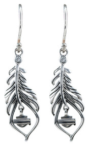 Harley-Davidson Women's Large Boho Feather Earrings, Sterling Silver HDE0406 - Wisconsin Harley-Davidson