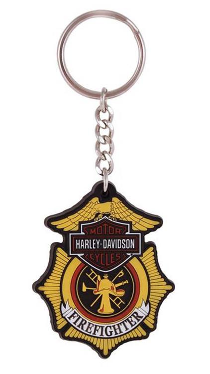 Harley-Davidson Firefighter Original Bar & Shield Rubber Keychain KY126583 - Wisconsin Harley-Davidson