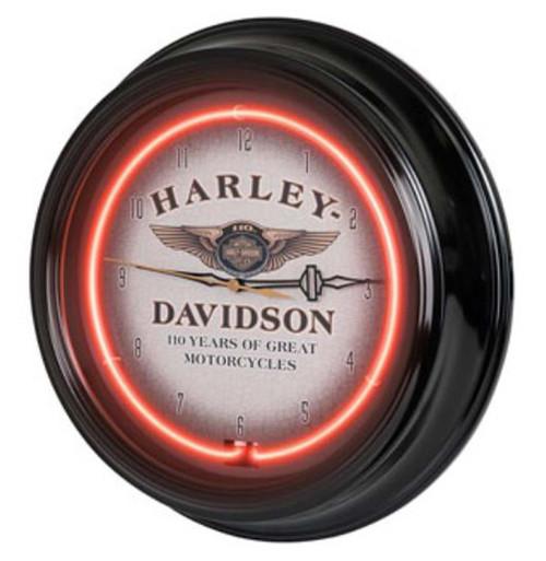 Harley-Davidson 110th Anniversary Bar & Shield Red Neon Clock HDL-16628 - Wisconsin Harley-Davidson
