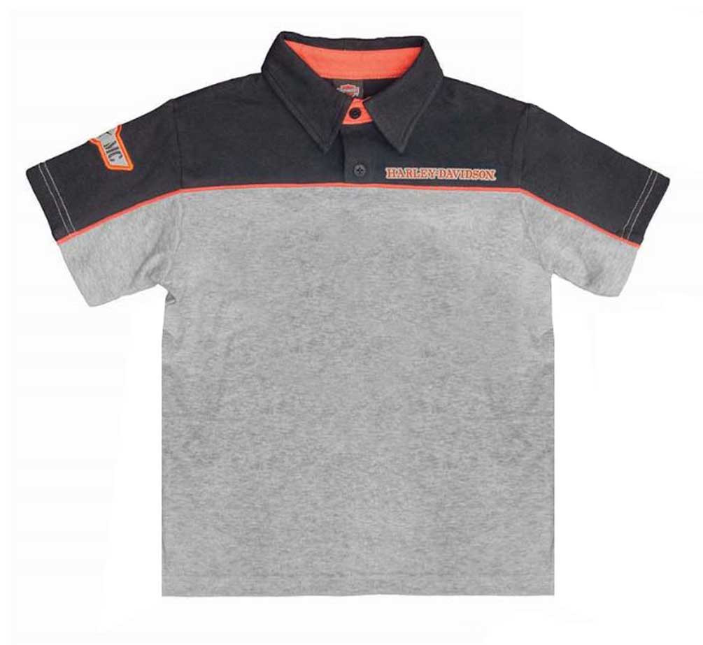 68e35a20 Harley-Davidson Little Boys' Colorblocked Short Sleeve Polo, Black/Gray  1071686 -