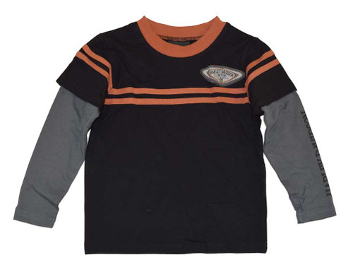 Harley-Davidson Big Boys' H-D Patch Long Sleeve Double Tee, Black 4291388 - Wisconsin Harley-Davidson