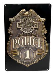 Harley-Davidson Police Shield Tin Metal Sign 17 x 12 Inches 2010161 - Wisconsin Harley-Davidson