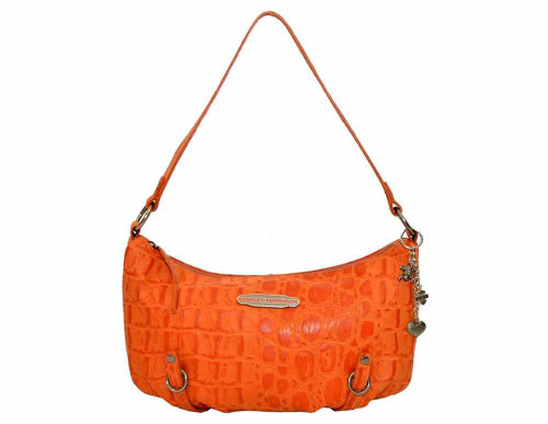 Harley Davidson Womens Orange Hammered Croco Shoulder Bag Purse HC7942L-ORG - Wisconsin Harley-Davidson