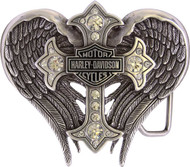 Harley-Davidson Women's Back Roads Cross Winged Belt Buckle Chrome HDWBU10453 - Wisconsin Harley-Davidson