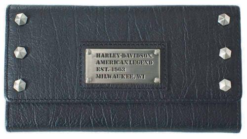 Harley Davidson Womens All Bark Black Trifold Clutch Wallet AB7790L-Black - Wisconsin Harley-Davidson