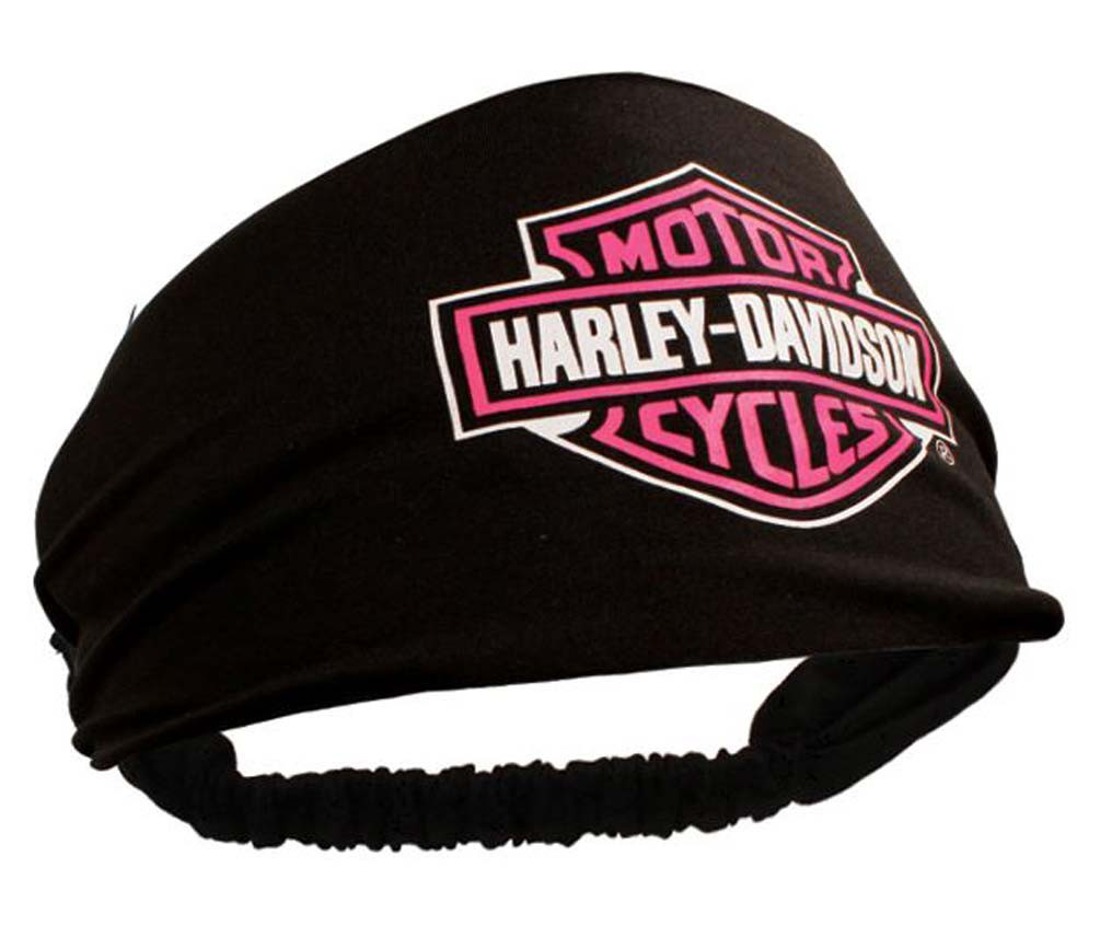 Harley-Davidson Womens Scrunchie Pink Bar   Shield Black Headband HE30291 -  Wisconsin Harley- a7fcd6a55a3