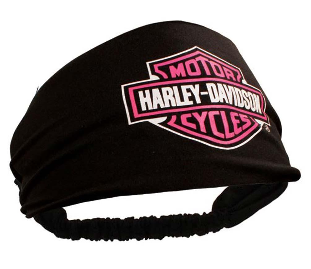 Harley-Davidson Womens Scrunchie Pink Bar   Shield Black Headband HE30291 -  Wisconsin Harley- 11996fecc59