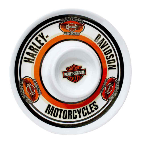 Harley-Davidson Chip N Dip H-D Bar & Shield Melamine Plate, 12 Inch HD-HD-907 - Wisconsin Harley-Davidson