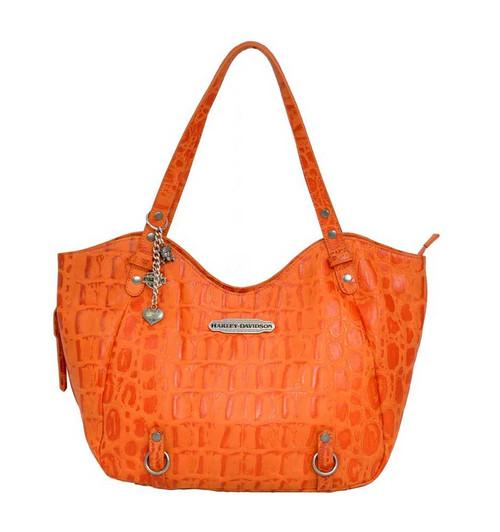Harley Davidson Womens Orange Hammered Croco Shopper Bag Purse HC7910L-ORG - Wisconsin Harley-Davidson
