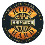 Harley-Davidson Ride Hard Round 14 Inch Tin Sign 2010671 - Wisconsin Harley-Davidson