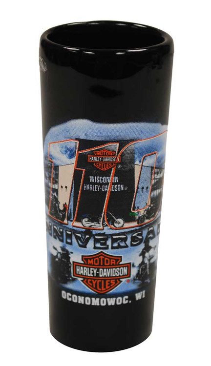Harley-Davidson 110th Anniversary Tall Shot Glass Black 110-SHOT - Wisconsin Harley-Davidson