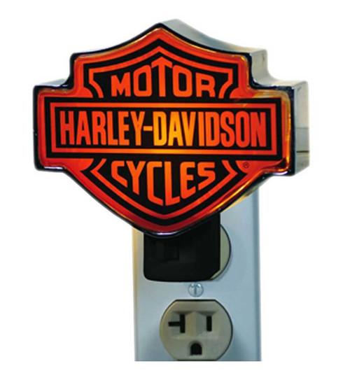 Harley-Davidson Chrome Bar & Shield Logo Orange Plug-In Nightlight HD-HD-857 - Wisconsin Harley-Davidson