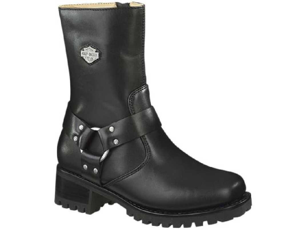 21c8c1047911 Harley-Davidson® Women s Ashby Harness Zip Black Leather Motorcycle Boots  D84187 - Wisconsin Harley-Davidson