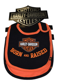 Harley-Davidson Baby Boys' Bibs, Bar & Shield 2 Pack, Black/Orange 7059507 - Wisconsin Harley-Davidson