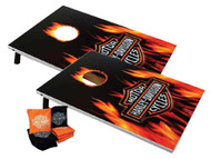 Harley-Davidson Flaming Bar & Shield Cornhole Bean Bag Toss Game 66279 - Wisconsin Harley-Davidson