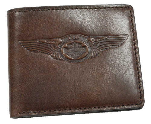 Harley-Davidson 110th Anniversary Classic Billfold Brown Leather AM1162L-Brown - Wisconsin Harley-Davidson