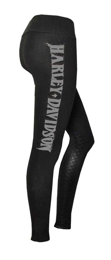Harley-Davidson® Womens Leggings, Rhinestone H-D Script & Quilted Detail, Black - Wisconsin