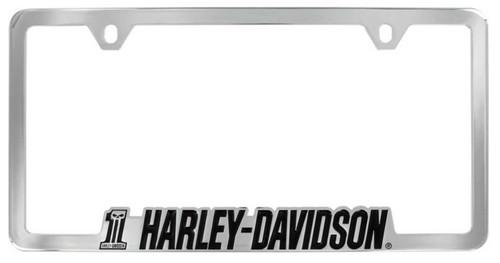 Harley-Davidson #1 Skull H-D Script License Plate Frame Chrome HDLFC233 - Wisconsin Harley-Davidson