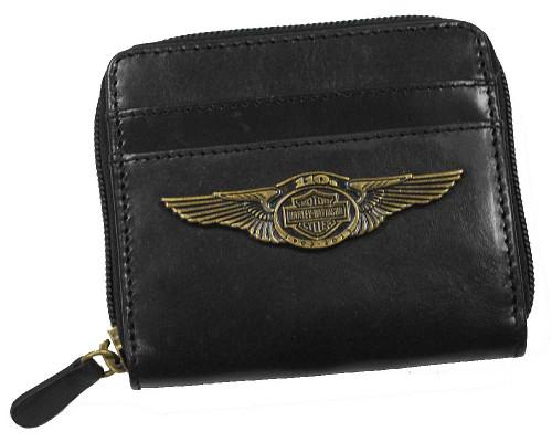 Harley-Davidson 110th Anniversary Zip Around Wallet Black Leather AL1178L-BLACK - Wisconsin Harley-Davidson