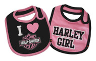Harley-Davidson Baby Girls' Bibs, Bar & Shield 2 Pack Set, Black/Pink 7009505 - Wisconsin Harley-Davidson