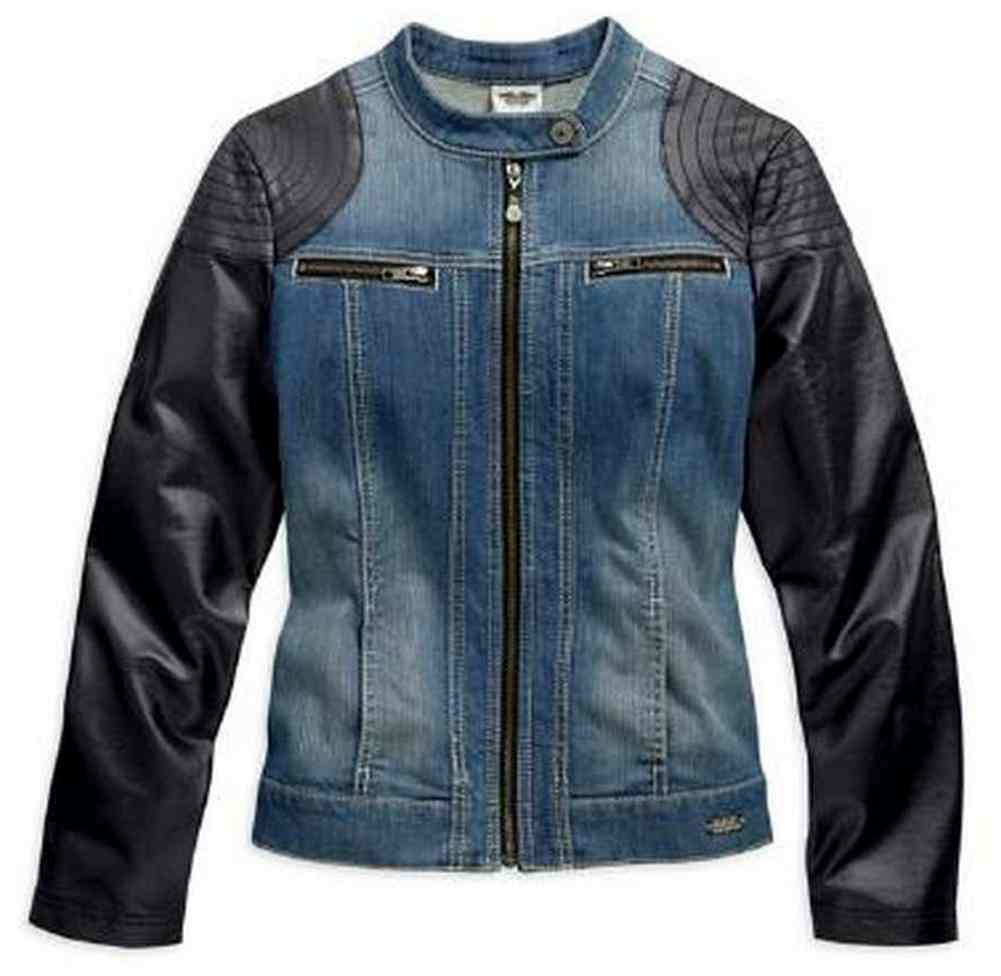 c8770ce0ff ... Harley-Davidson Women s Denim Jacket with Faux Black Leather. See 1  more picture