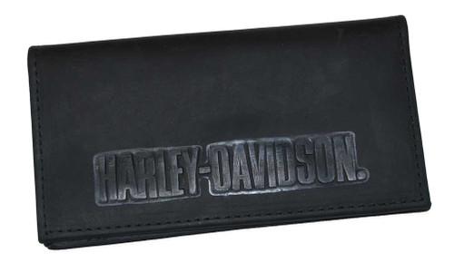 Harley-Davidson Embossed H-D Font Checkbook Cover Leather Black CK704H-7 - Wisconsin Harley-Davidson