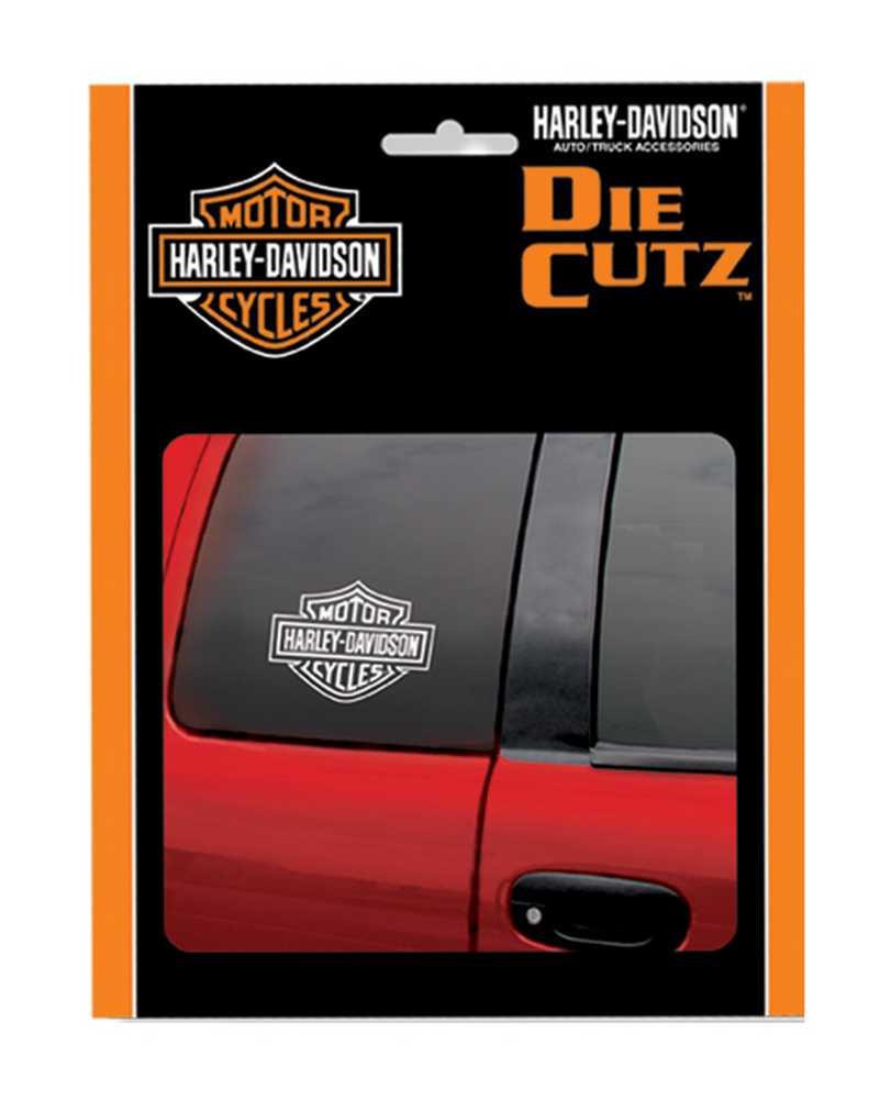 Harley davidson bar shield white die cutz window decal 4 x 5 1 inch