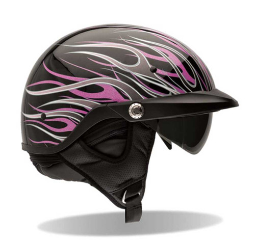 BELL Pit Boss Ultra-Light Motorcycle Helmet Sun Shade Black, Flames Pink 7001 - Wisconsin Harley-Davidson