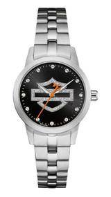 Harley-Davidson Women's Glitter Open Bar & Shield Watch, Stainless Steel 76L182 - Wisconsin Harley-Davidson