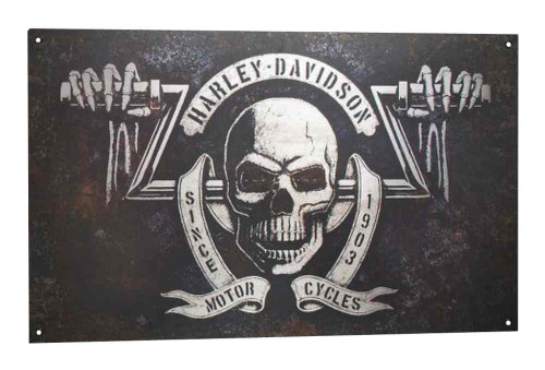 Harley-Davidson Distressed & Rusted Shadow Skull Tin Sign, 18 x 30 In 96885-16V - Wisconsin Harley-Davidson