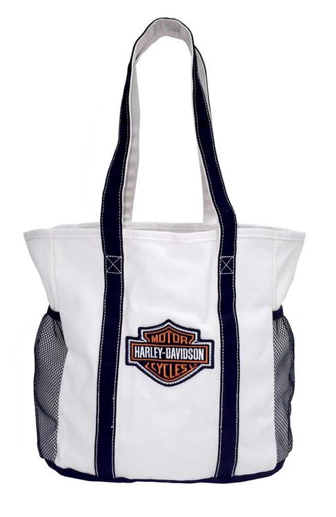 Harley-Davidson Embroidered Bar & Shield Beach Tote Bag, White 2330440 - Wisconsin Harley-Davidson