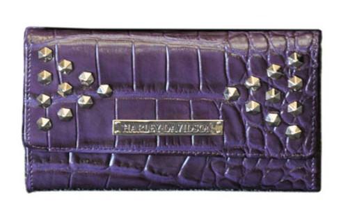 Harley Davidson Women's Croco Studded Clutch Wallet, Violet OC4437L-Violet - Wisconsin Harley-Davidson