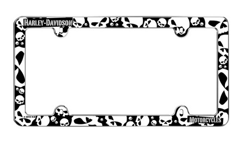 Harley-Davidson Black & White Skulls Plastic License Plate Frame Cover CG6338 - Wisconsin Harley-Davidson