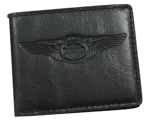 Harley-Davidson 110th Anniversary Classic Billfold Black Leather AM1162L-Black - Wisconsin Harley-Davidson