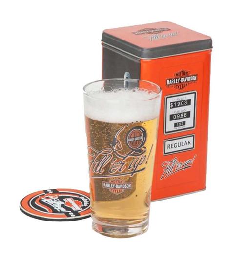 Harley-Davidson Fill'er Up Tall Glass Gift Set, 3 Piece, 20 oz Glass HDL-18733 - Wisconsin Harley-Davidson